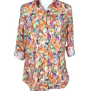 J Mclaughlin orange Toucan print button down Med